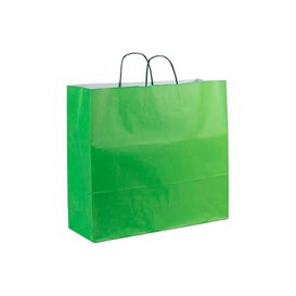Paper Bag with Handles Green 100g 22+9x23cm (25 Units)