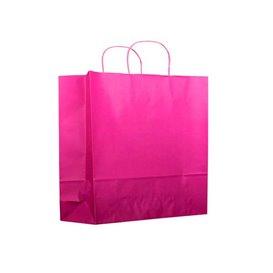 Fuchsia paper bag with handles 100g 22+9x23 cm (200 units)