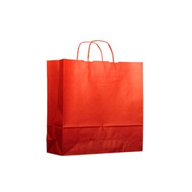 Paper Bag with Handles Kraft Red 100g 22+9x23cm (25 Units)