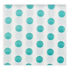 "Paper Napkin Double Point ""Polkadots Turquoise"" 40x40cm (600 Units)"