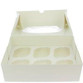 Paper Cupcake Box 6 Slots White 24,3x16,5x7,5cm (100 Units)