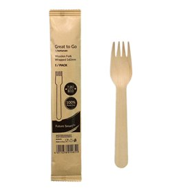 Wooden Fork Wrapped 16cm (25 pcs)