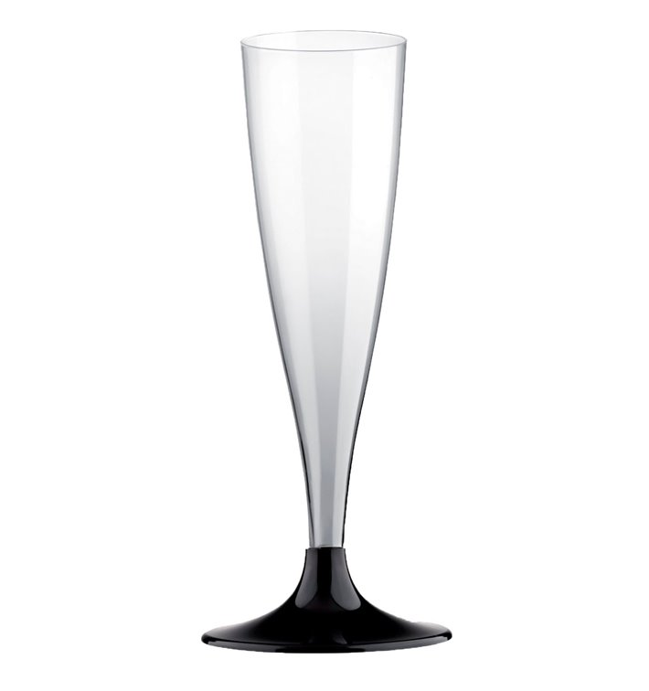 Plastic Stemmed Flute Sparkling Wine Black 140ml 2P (400 Units)