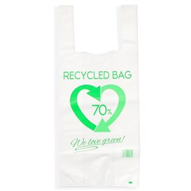 Plastic T-Shirt Bag 70% Recycled 35x50cm 50µm (1000 Units)