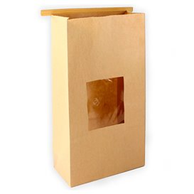 Paper Bag without Handle Kraft and Window 9+6x26cm (50 Uds)