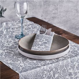 "Airlaid Tablecloth Roll 1,2x25m ""Versalles"" Grey 50g/m² (6 Units)"