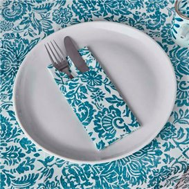 "Pocket Fold Airlaid Napkins ""Versalles"" Turquoise 33x40cm 55g/m² (40 Units)"