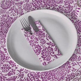 "Pocket Fold Airlaid Napkins ""Versalles"" Purple 33x40cm 55g/m² (40 Units)"