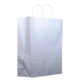 Paper Bag with Handles Kraft White 100g 22+11x27 cm (200 Units)