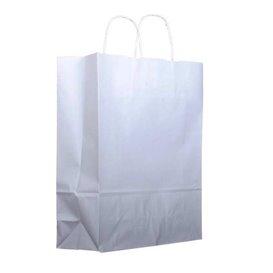 Paper Bag with Handles Kraft White 100g 25+13x33cm (200 Units)