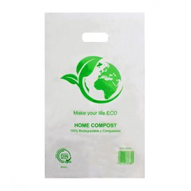 Die-Cut Handle Plastic Bags 100% Biodegradable 20x33cm (100 Units)