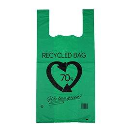 Plastic T-Shirt Bag 70% Recycled Green 42x53cm 50µm (50 Units)