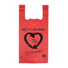 Plastic T-Shirt Bag 70% Recycled Red 42x53cm 50µm (50 Units)