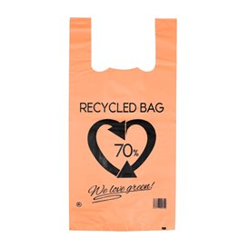 Plastic T-Shirt Bag 70% Recycled Orange 42x53cm 50µm (1.000 Units)