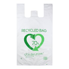 Plastic T-Shirt Bag 70% Recycled 70x80cm 50µm (300 Units)