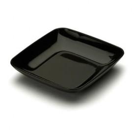 Plastic Tasting Plate PS Black 6x6x1 cm (50 Units)