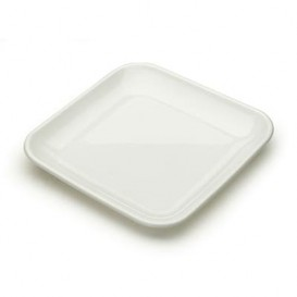 Plastic Tasting Plate PS White 6x6x1 cm (200 Units)