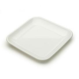 Plastic Tasting Plate PS White 6x6x1 cm (50 Units)