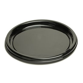 Plastic Tray Round Shape Black 30 cm (10 Units)