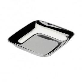 Plastic Tasting Plate PS Silver 6x6x1 cm (50 Units)