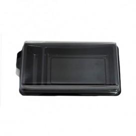 Plastic Sushi Container PET Black 14,8x7,8 cm (10 Units)
