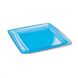 Plastic Plate Square shape Extra Rigid Turquoise 18x18cm (6 Units)