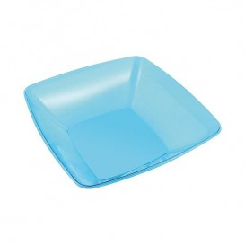 Plastic Bowl PS Crystal Hard Turquoise 480ml 14x14cm (4 Units)