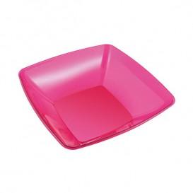 Plastic Bowl PS Crystal Hard Raspberry 480ml 14x14cm (60 Units)