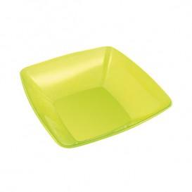Plastic Bowl PS Crystal Hard Green 480ml 14x14cm (4 Units)