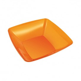 Plastic Bowl PS Crystal Hard Orange 480ml 14x14cm (4 Units)