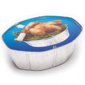 Paper Lid for Foil Pan Oval Shape 2400ml Blue (500 Units)