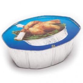 Paper Lid for Foil Pan Oval Shape 2400ml Blue (125 Units)
