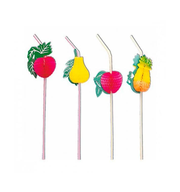 Plastic Straw Flexible PS Fruit Design Ø0,5cm (50 Units) 33cm (50 Units)