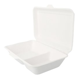 "Sugarcane Hinged Container ""Menu Box"" 2 Compartments White 22,5x16,5x6,4cm (50 Units)"