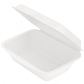 "Sugarcane Hinged Container ""Menu Box"" White 13,6x18,2x6,4cm (1.000 Units)"