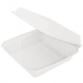 """Sugarcane Hinged Container """"Menu Box"""" White 22,5x22,5x7,5cm(200 Units)"""