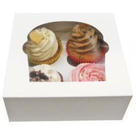 Paper Cupcake Box 4 Slots White 17,3x16,5x7,5cm (140 Units)
