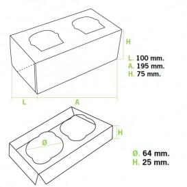 Paper Cupcake Box 2 Slots Pink 19,5x10x7,5cm (160 Units)