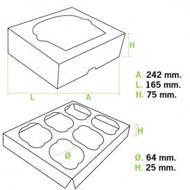 Paper Cupcake Box 6 Slots Pink 24,3x16,5x7,5cm (100 Units)
