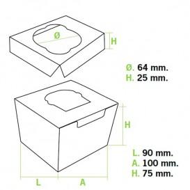 Paper Cupcake Box 1 Slot 11x10x7,5cm (200 Units)