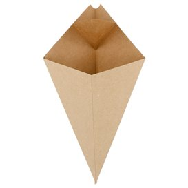 Paper Dipping Cone Kraft 27cm 250g (50 Units)