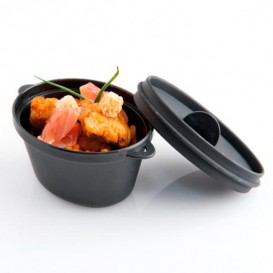 Serving Pot with Lid PP Black 9,1x5,8cm 65ml (216 Units)