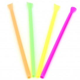 Plastic Straw Straight PS Spoon 4 colors Ø0,6cm 20cm (250 Units)